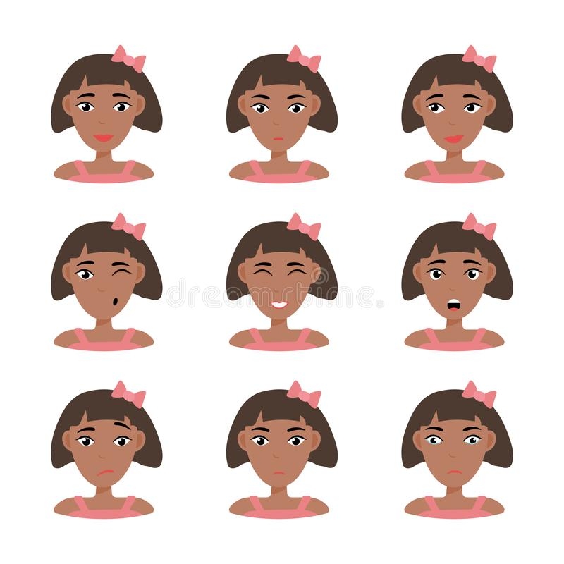 Face expressions of African American woman vector illustration