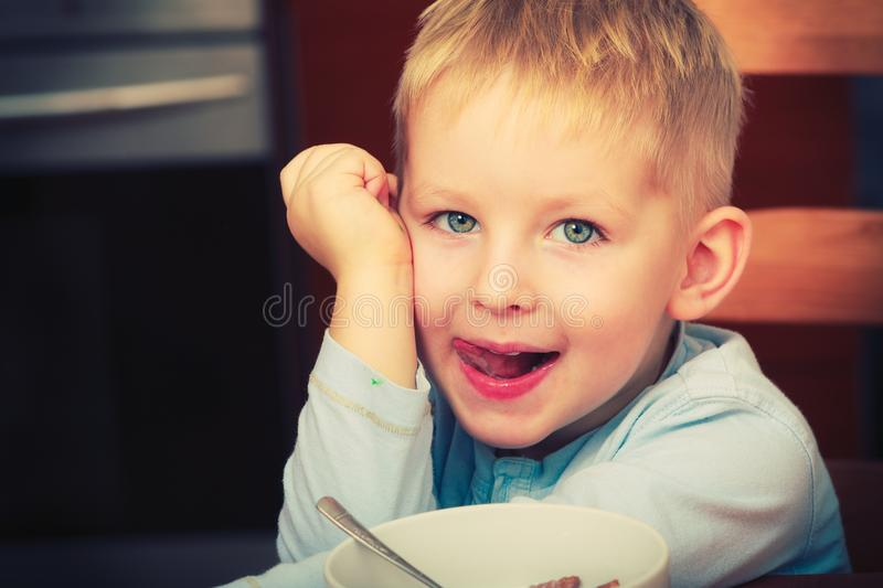 Happy kid boy looking straight to camera stock photos