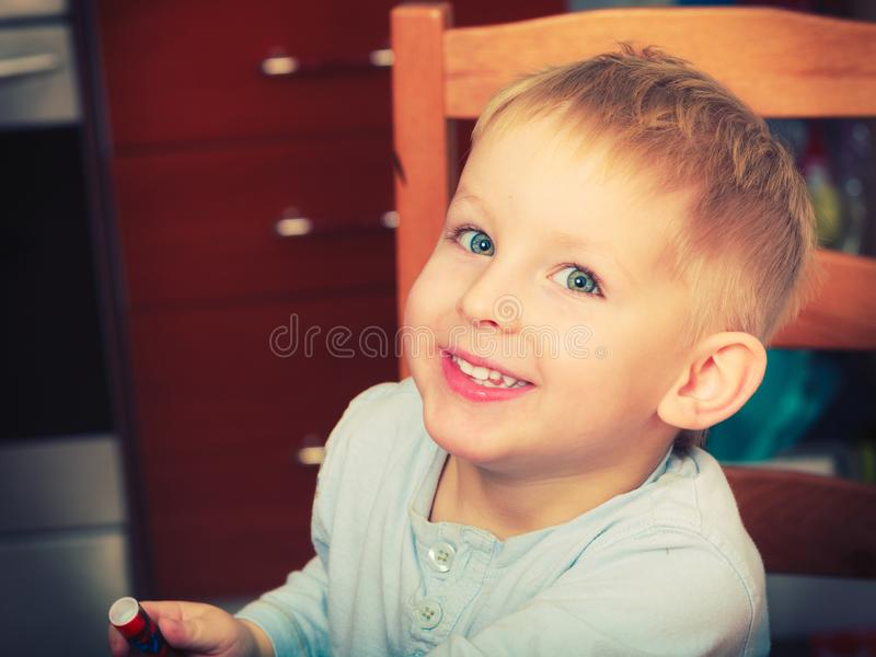 Happy kid boy looking straight to camera royalty free stock photos
