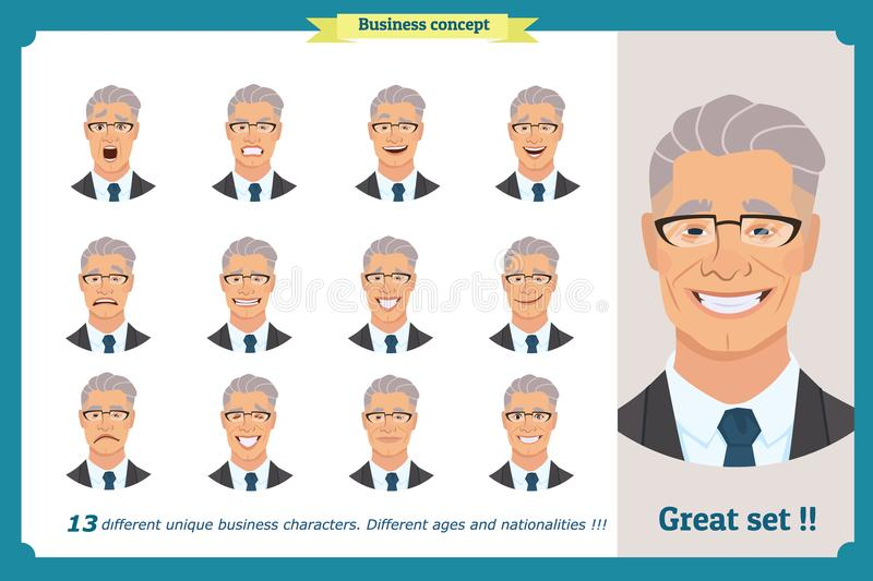 Face expressions of a man.Flat cartoon character. Businessman in a suit and tie. Face, elements for design work.Isolated vector on white.Set of cute avatars royalty free illustration