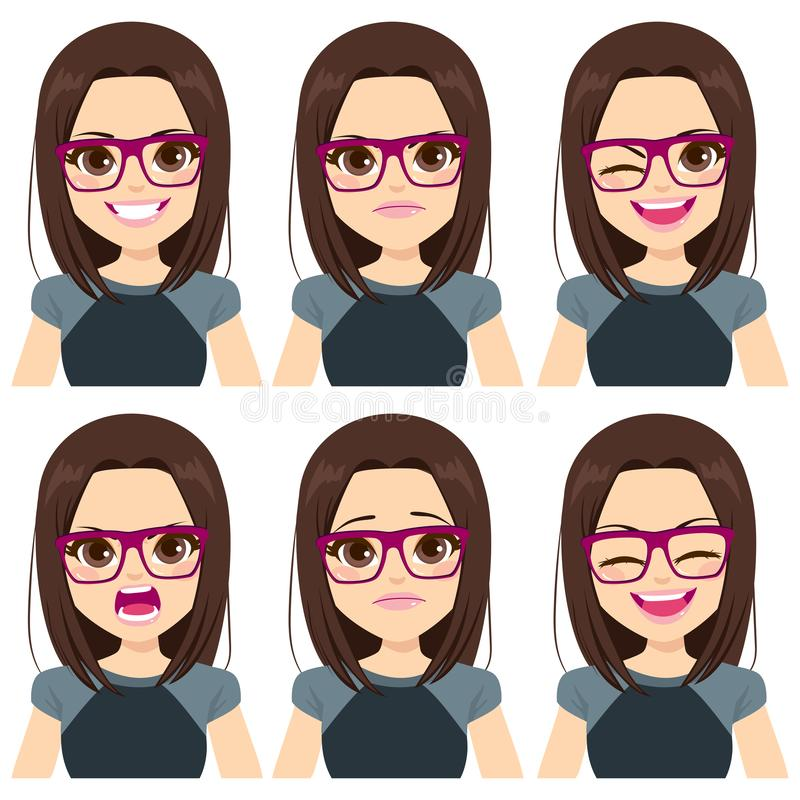 Teenager Girl Face Set Expressions. Face expressions of teenager girl with brown hair on different emotions set isolated on white background stock illustration