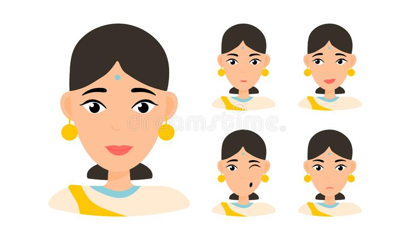 Face expressions of woman with dark hair stock illustration