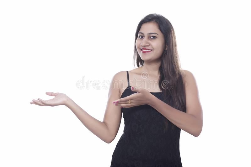 Face expressions of young middle class girl stock photos