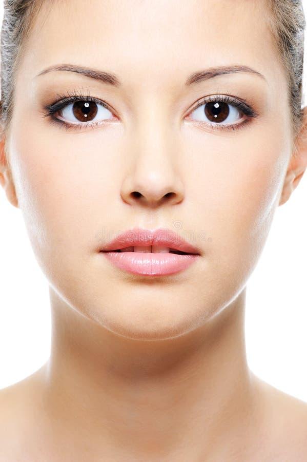 Face fêmea asiática da beleza imagens de stock