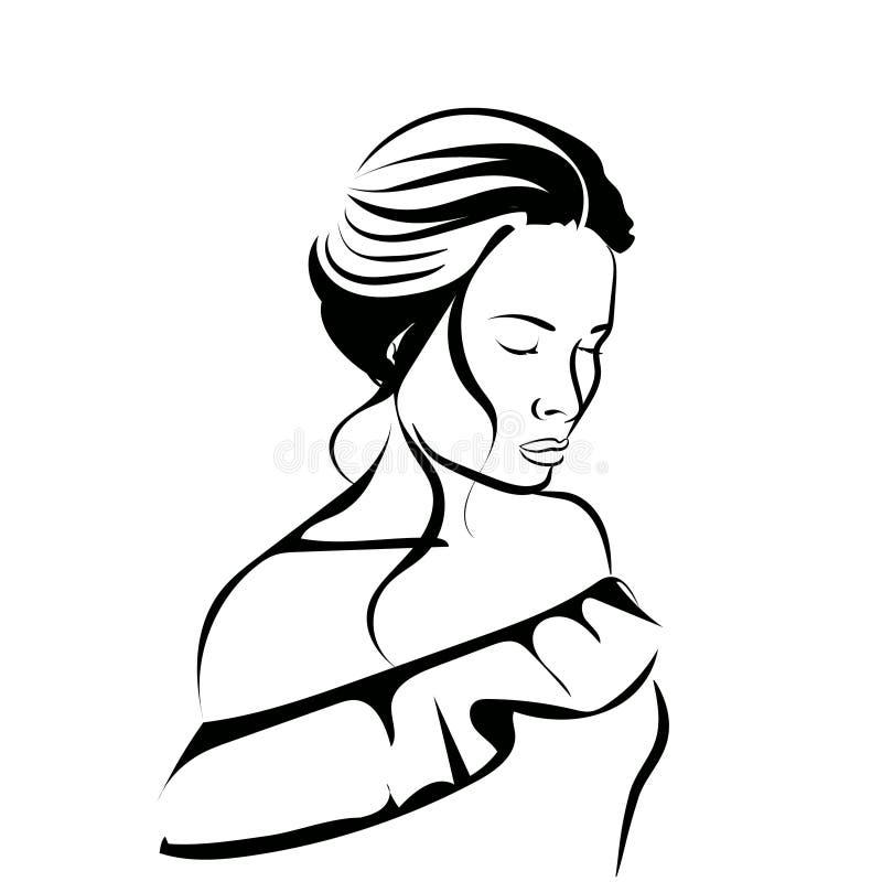 Face fêmea encantadora Ícone da beleza para o salão de beleza ilustração royalty free