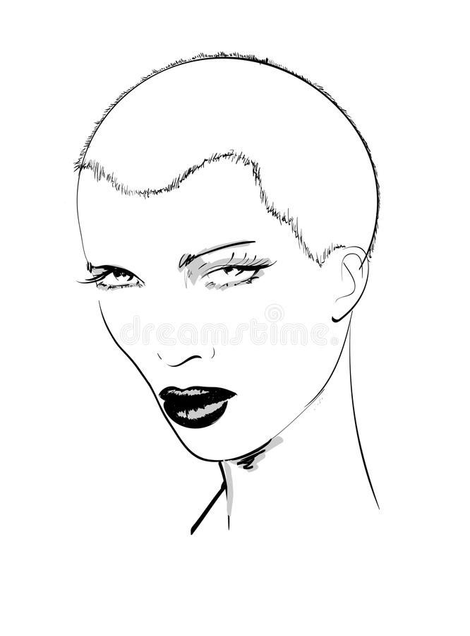 The face of a fashion girl stock illustration