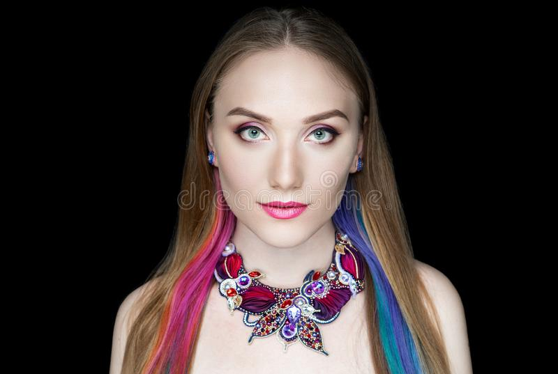 Face Fashion model pink blue hair stock photo