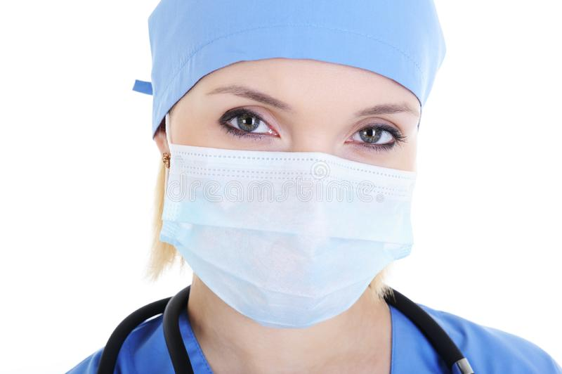 Face of female surgeon stock photo