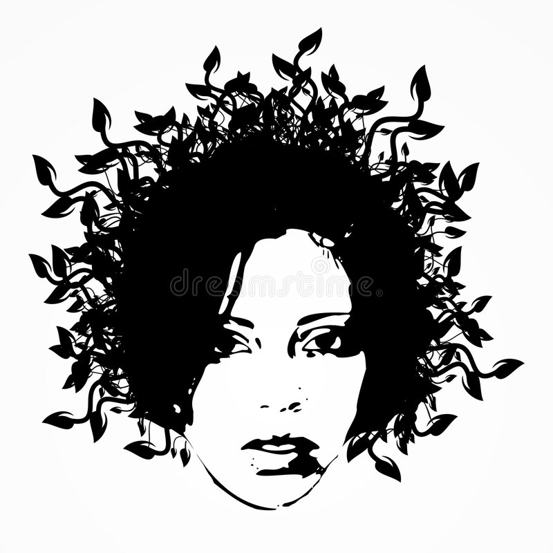 Face floral 1 da mulher ilustração royalty free
