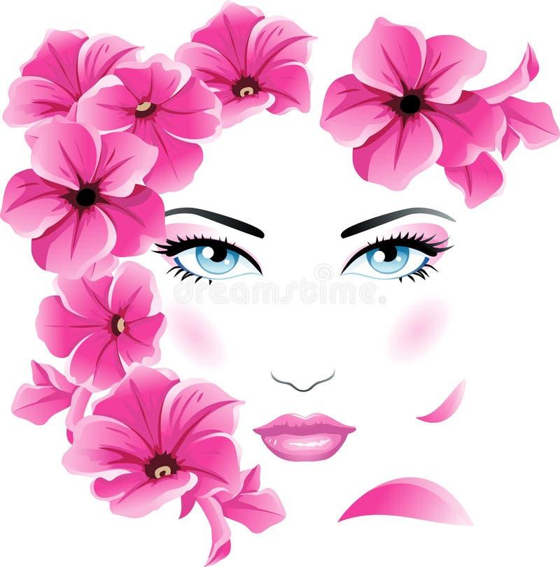 Face floral ilustração stock