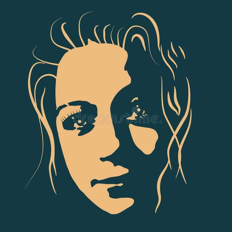 Silhouette of a female head. vector illustration