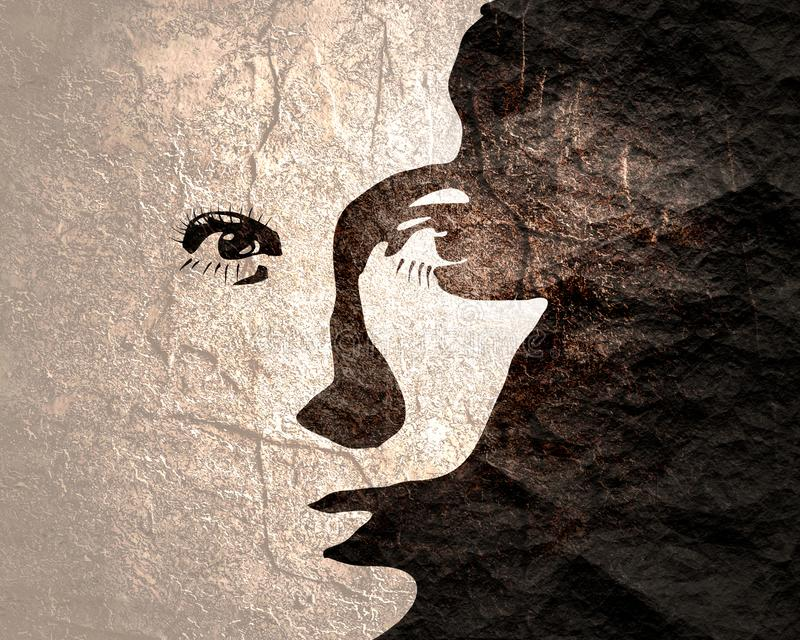Silhouette of a female head. stock illustration