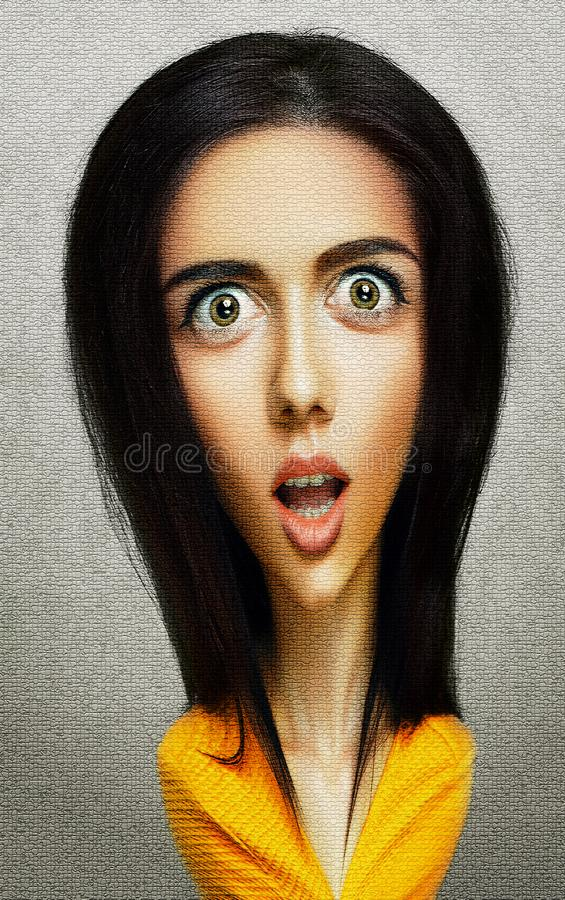 Face of funny surprised woman with big head and eyes stock photos