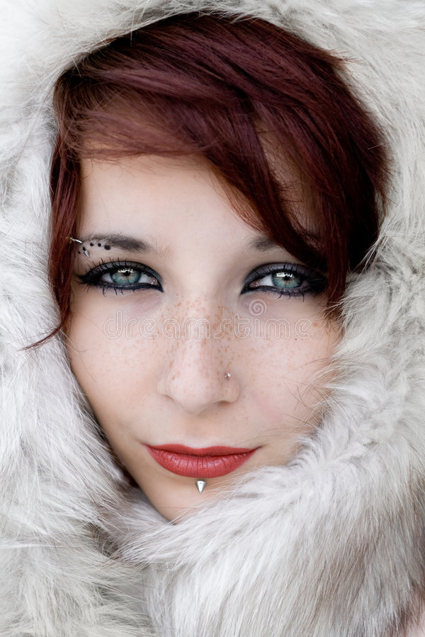 Face in fur stock photo