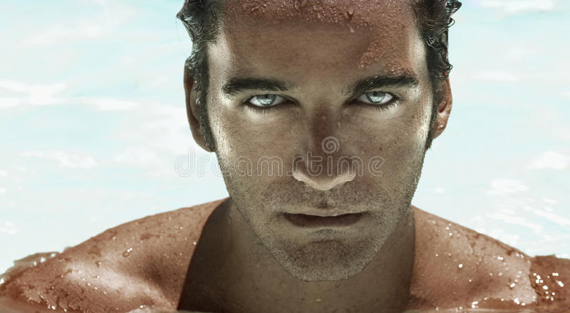 Face futurista do homem imagem de stock