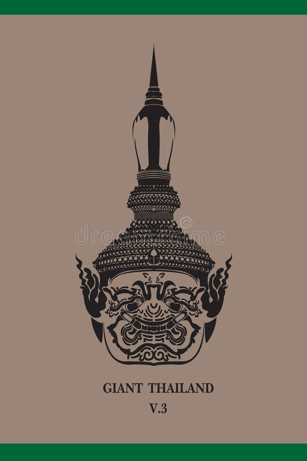 Face Giant thailand. Temple is beautiful stock illustration