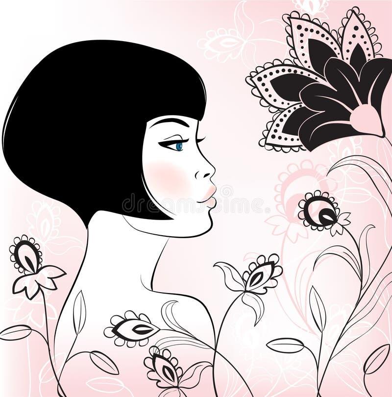 Face girl vector illustration