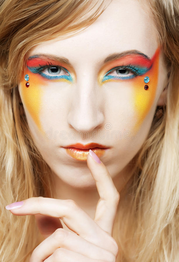 face of a girl with creative visage royalty free stock photography