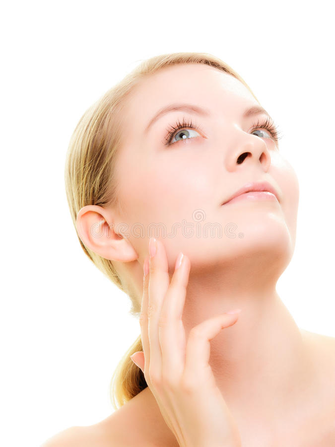 Face girl with healthy pure complexion. Skin care. stock photos