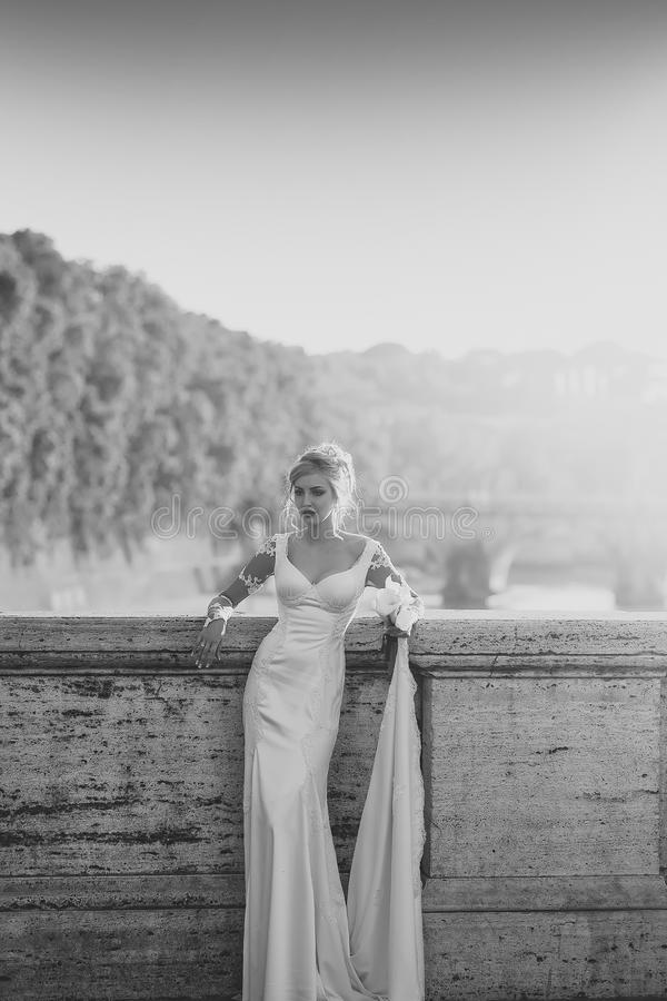 Face girl for magazine cover. Girl face portrait in your advertisnent. Young bride on bridge royalty free stock photo