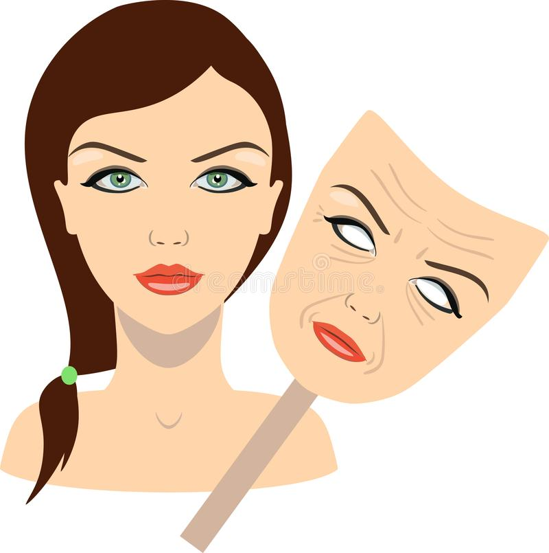 Face of a girl and mask with aged face. concept of rejuvenation. vector illustration stock illustration