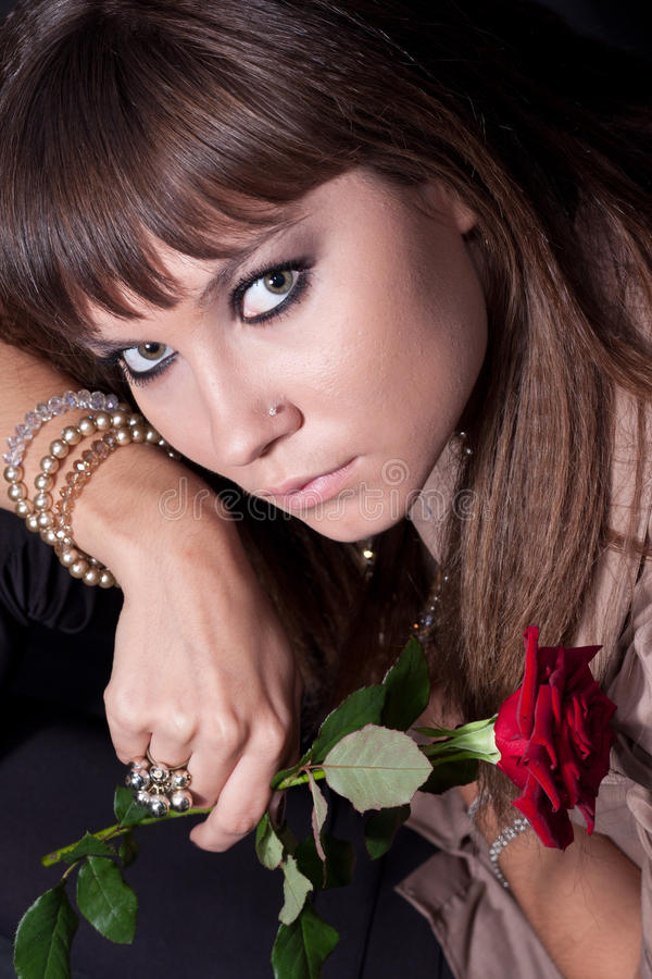 Face girl with rose stock photos