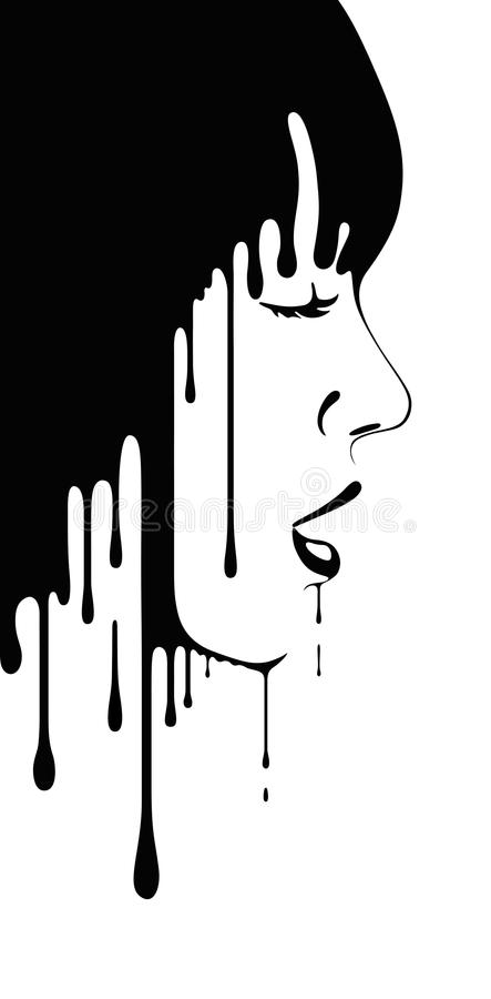 Download Face of girl stock vector. Image of cute, black, drips - 34272781