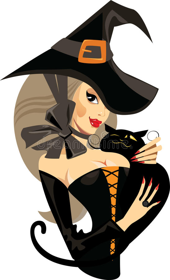 Face girl witch with cat, witch, halloween stock illustration