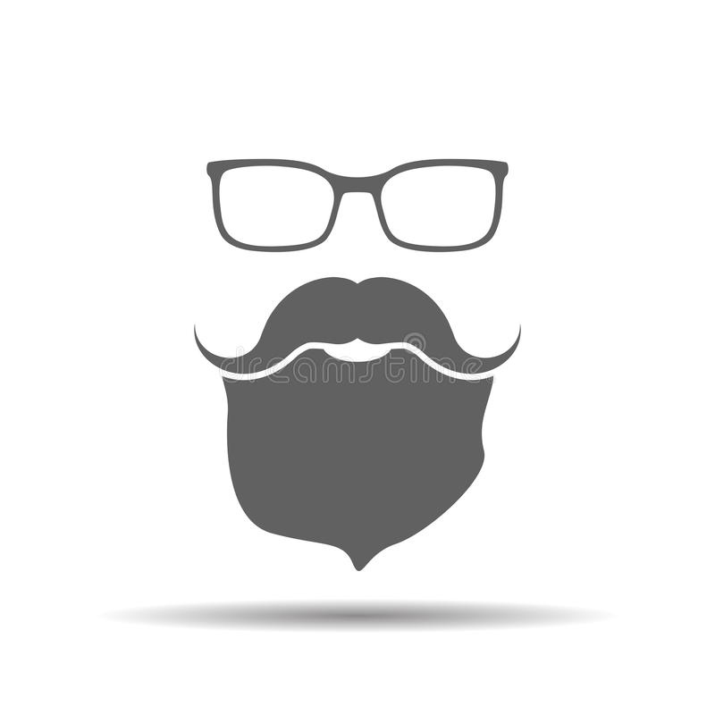 Face with glasses, mustaches and beard stock illustration