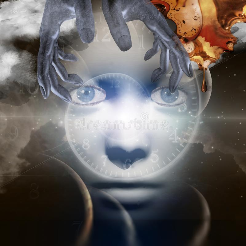 Face of God. Woman`s face in space. Hands of creator. Melted clock in Dali style. Human elements were created with 3D software and are not from any actual human vector illustration