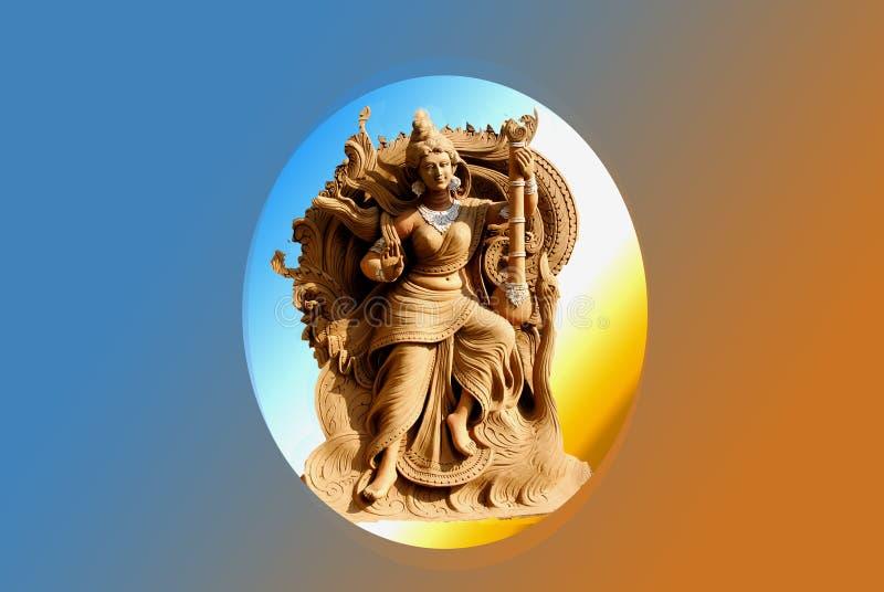 Face of Goddess Saraswati at purulia , West Bengal, India. Face of Goddess Saraswati at purulia , Kolkata, West Bengal, India. Saraswati is Hindu goddess of royalty free stock photo