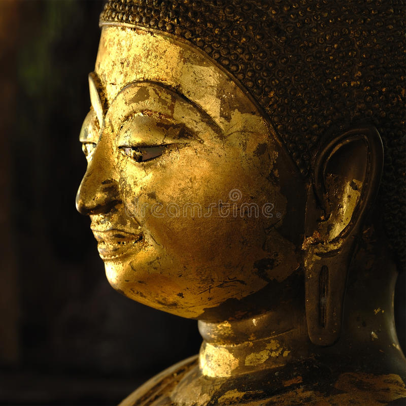 Face of Golden Buddha in Chiangmai Thailand stock image