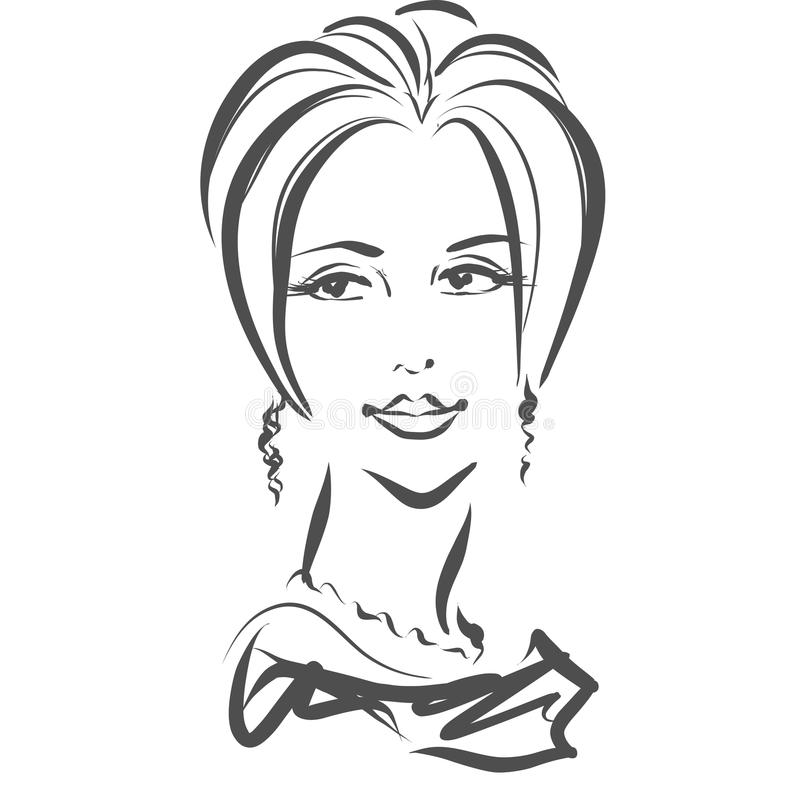 Face of gorgeous woman, scribble style vector illustration