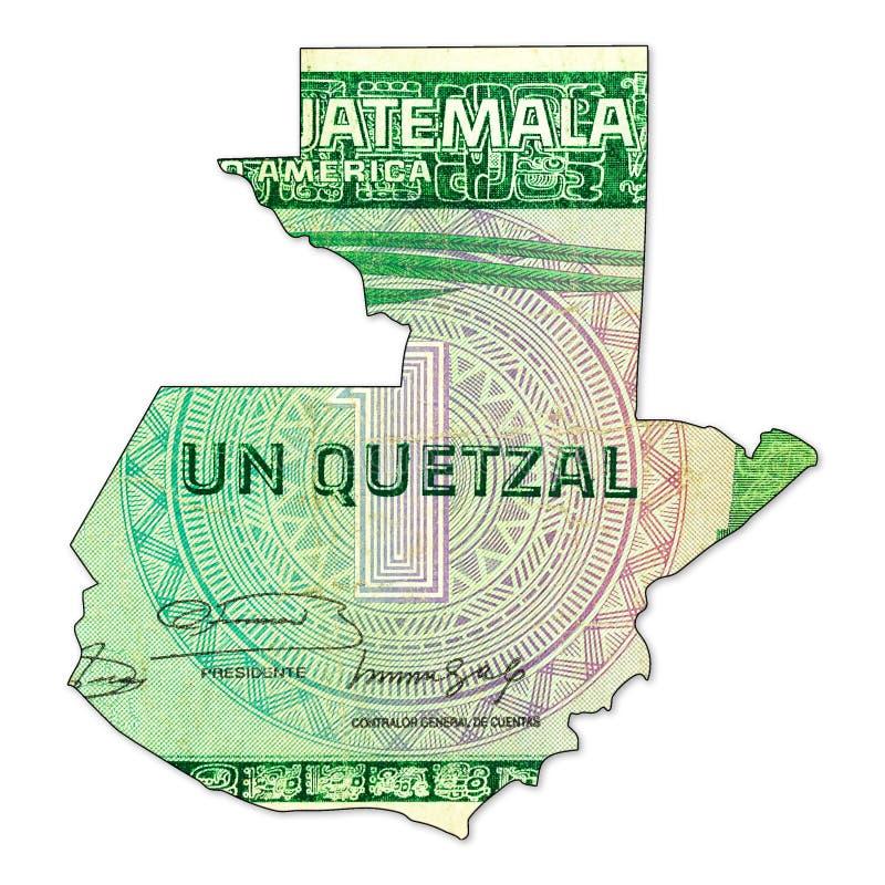 1 face guatémaltèque de billet de banque de quetzal dans la forme du Guatemala illustration stock