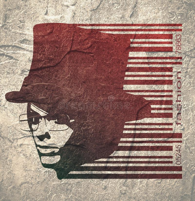 Extravagant woman portrait. Face half turn view. Elegant silhouette of a woman wearing top hat and spectacles. Bar code and female silhouette royalty free illustration