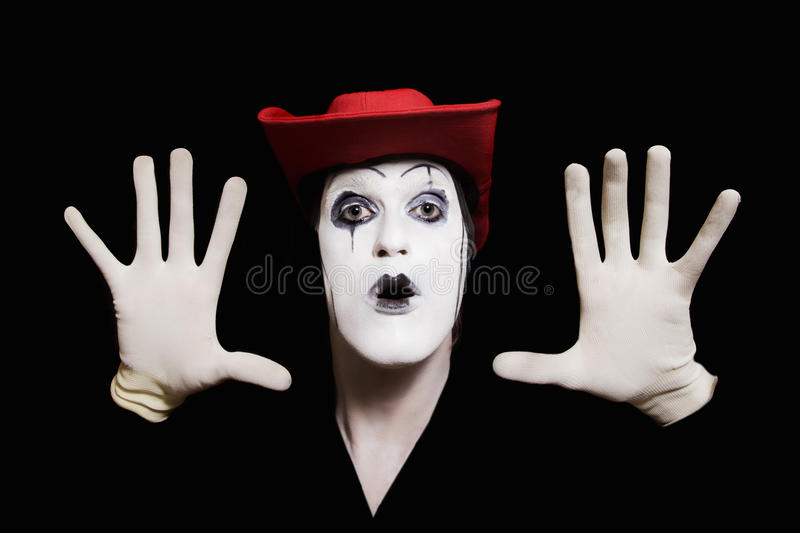 Download Face And Hands Of Mime With Dark Make-up Stock Photo - Image: 19060618
