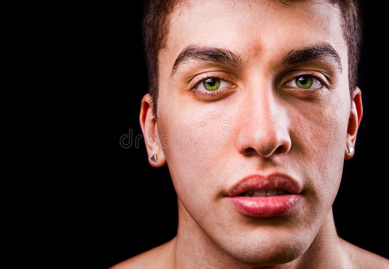 Download Face Of Handsome Sensual Man Isolated On Black Stock Image - Image of copyspace, detail: 8749229