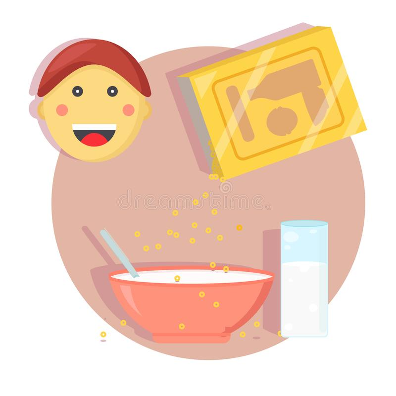 Boy with breakfast. Face of happy little cute boy with breakfast cereals and plate concept. Glass with milk. Sip from the box in the dish. Modern flat style vector illustration