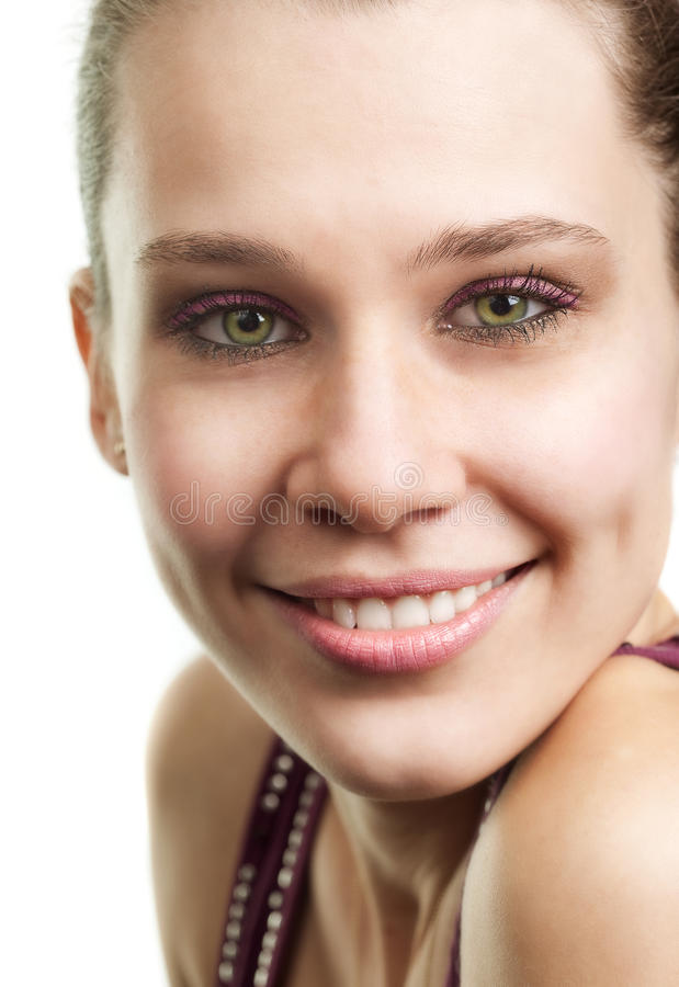 Face of happy woman with beautiful smile. Over white royalty free stock image