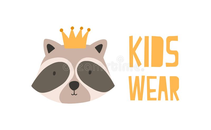 Face or head of adorable raccoon in crown. Muzzle of cute funny wild animal isolated on white background. Colorful. Vector illustration in flat doodle style for stock illustration