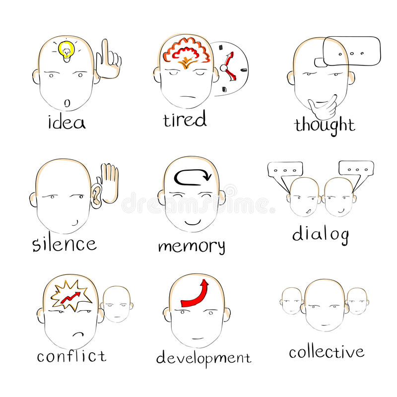 Face Head Icon Emotions Sketch Vector royalty free illustration