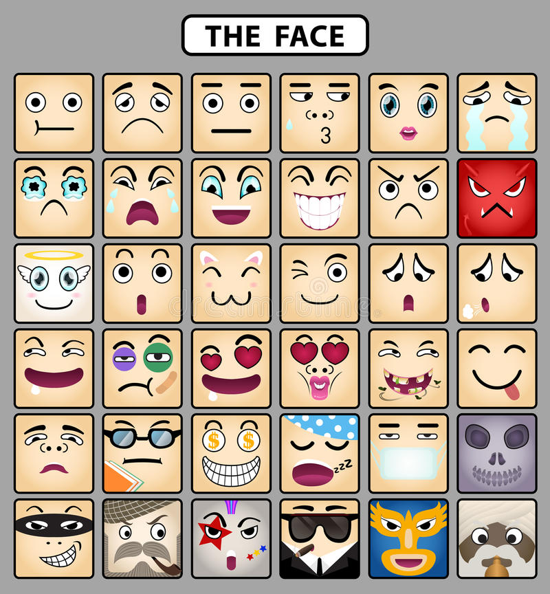 Free Face Icons 1 Stock Photography - 27644602