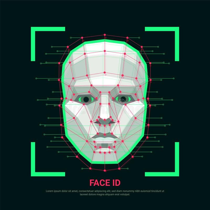 Face ID concept. Biometric identification or Facial recognition system. Human face consisting of polygons, points and. Lines. Vector illustration stock illustration