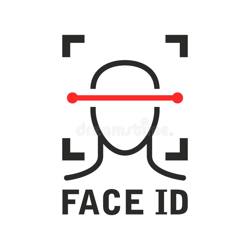 Face id icon - recognition identification scan system, face scanning. Process stock illustration