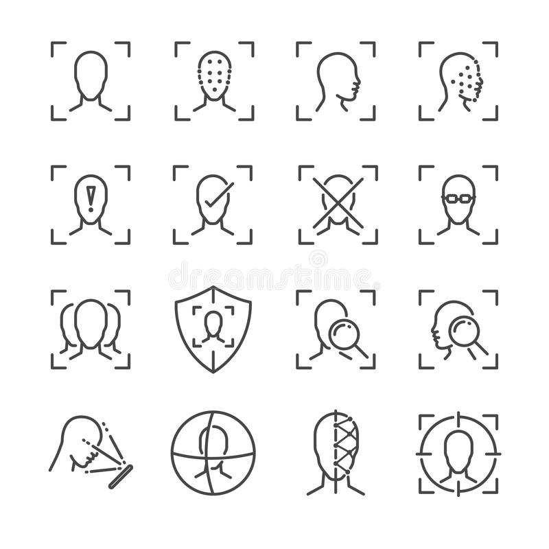 Face ID line icon set. Included the icons as face, recognition, facial, unlock, detect, scan and more. vector illustration