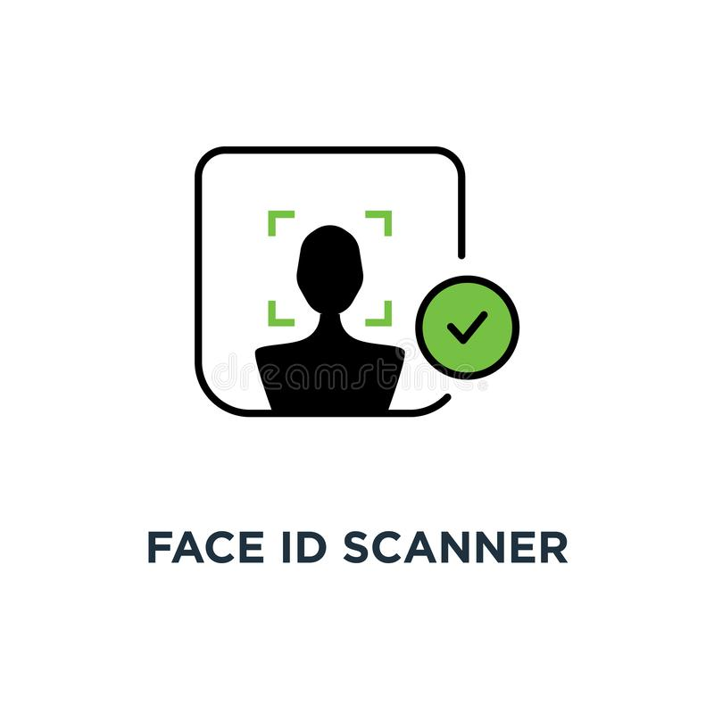 face id scanner with check mark icon, symbol of facial scanning for unlock your cellphone and people access authorization concept stock illustration