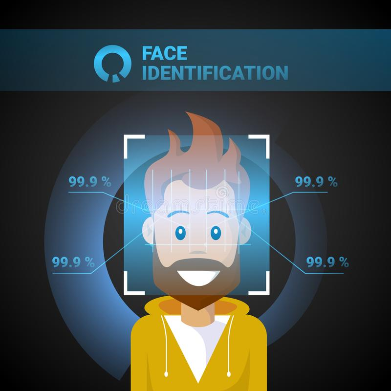 Face Identification Male Scanning Modern Access Control Technology Biometrical Recognition System Concept. Vector Illustration vector illustration