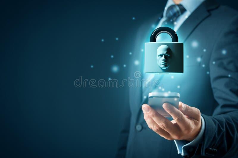 Face identification smart phone unlock royalty free illustration