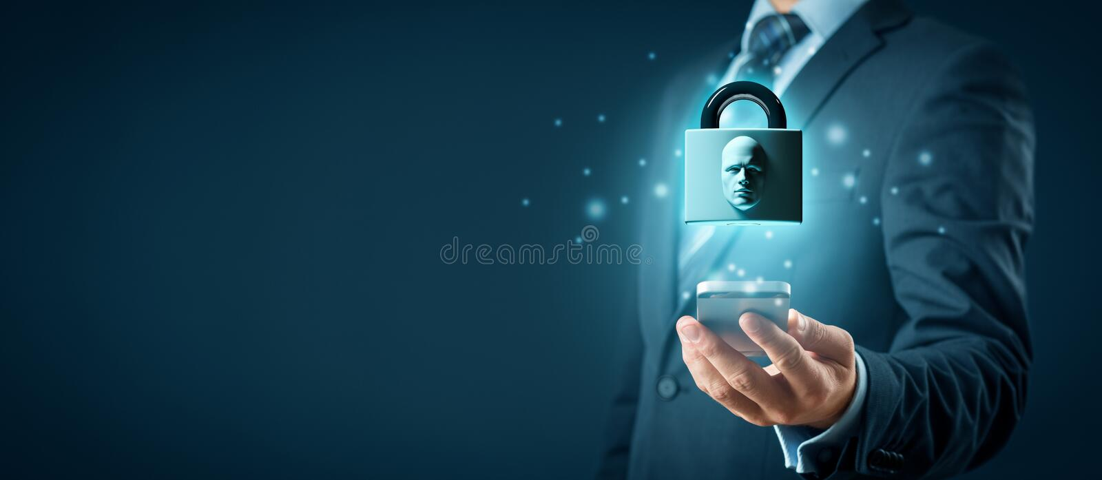 Face identification smart phone unlock royalty free stock photos