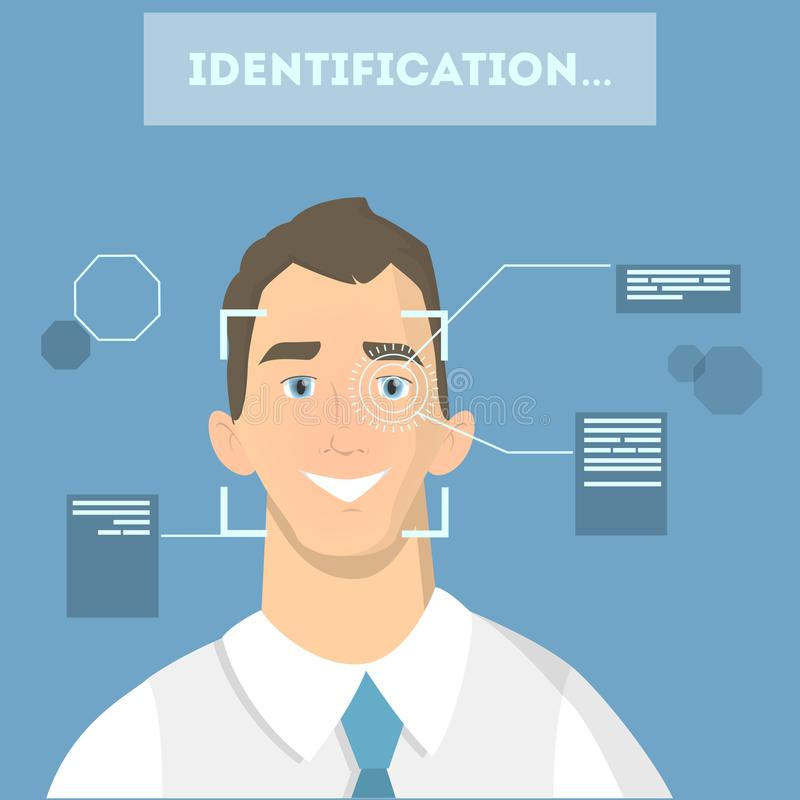 Face identification system. Checking man eyes and shape stock illustration